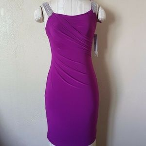 LAUREN Ralph Lauren Fuchsia Beaded Surplice dress